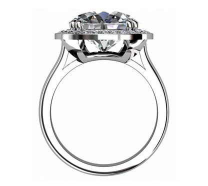Princess Cut Diamond Halo Engagement Ring 3 3 2
