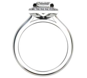 Princess Cut Diamond Halo Engagement Ring 3 5