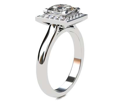 Princess Cut Diamond Halo Engagement Ring 4 5