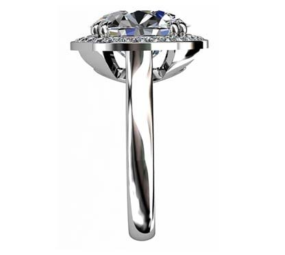 Princess Cut Diamond Halo Engagement Ring 5 3 2