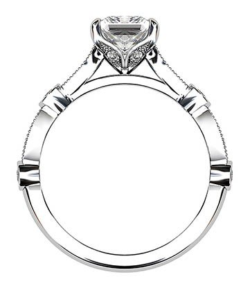 Princess Cut Diamond Ring with Eclipse Style Band 3 2
