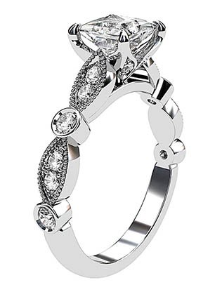 Princess Cut Diamond Ring with Eclipse Style Band 4 2