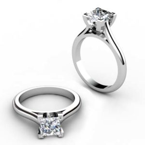 Princess Cut Diamond Solitaire Engagement Ring with Squared Claws 1 2