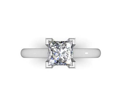 Princess Cut Diamond Solitaire Engagement Ring with Squared Claws 2 2
