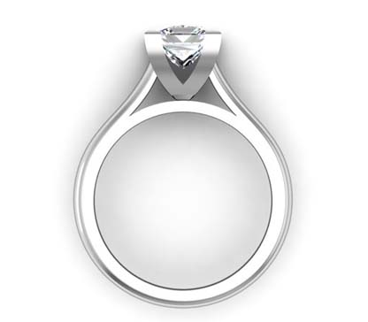 Princess Cut Diamond Solitaire Engagement Ring with Squared Claws 3 2
