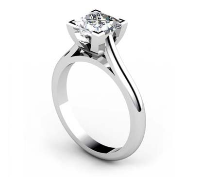 Princess Cut Diamond Solitaire Engagement Ring with Squared Claws 5 2