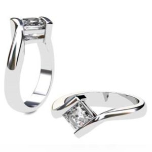 Princess Cut Diamond Solitaire Engagement Ring with Twisted Band 1 1 2