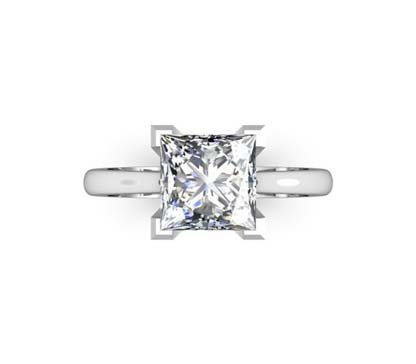 Princess Cut Diamond Solitaire Engagement Ring with V Shape Basket 2 2