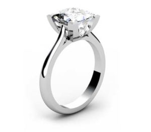 Princess Cut Diamond Solitaire Engagement Ring with V Shape Basket 4 2