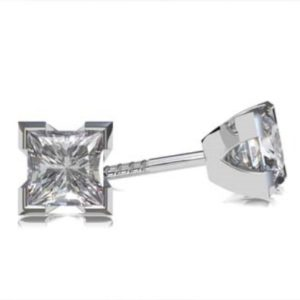 Princess Cut Diamond Stud Earrings in a V Shape Setting 1 1 2