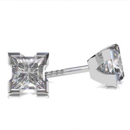 Princess Cut Diamond Stud Earrings in a V Shape Setting 1 1 2