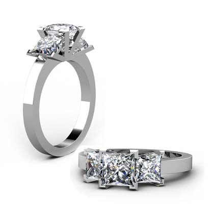 Princess Cut Diamond Three Stone Diamond Engagement Ring 1 2