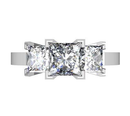Princess Cut Diamond Three Stone Diamond Engagement Ring 2 2