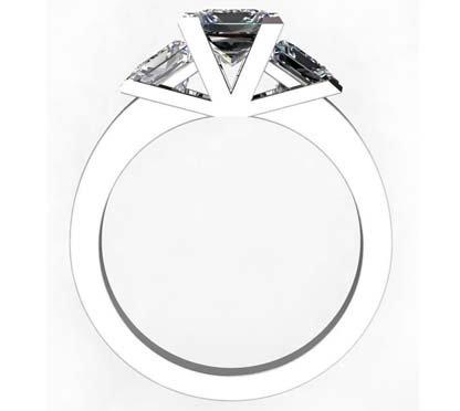 Princess Cut Diamond Three Stone Diamond Engagement Ring 3 2