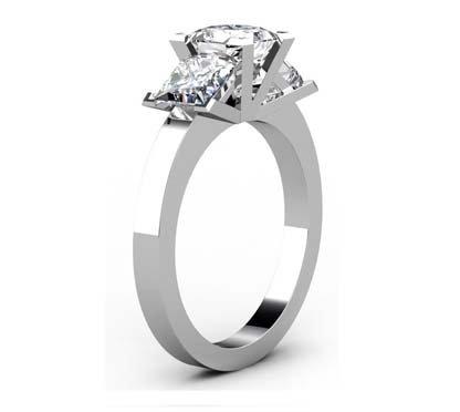 Princess Cut Diamond Three Stone Diamond Engagement Ring 4 2