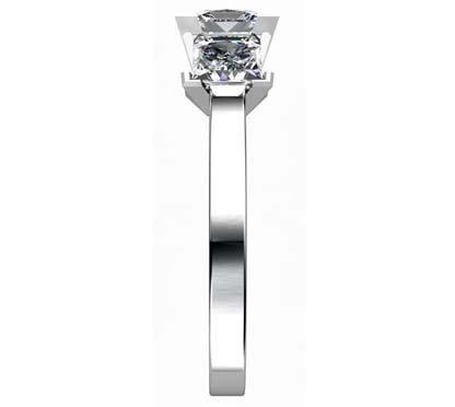 Princess Cut Diamond Three Stone Diamond Engagement Ring 5 2