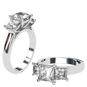 Princess Cut Diamond Three Stone Engagement Ring 1 3