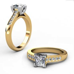 Princess Cut Diamond Yellow Gold Engagement Ring with V Shaped Basket 1 1