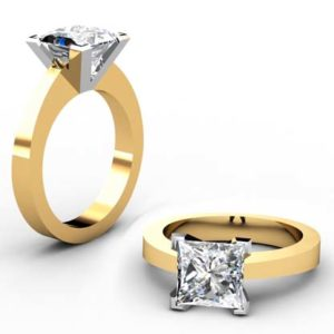 Princess Cut Diamond Yellow Gold Solitaire Engagement Ring with Flat Band 1 1