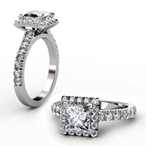Princess Cut Halo Diamond Engagement Ring with Cut Down Diamond Band 1 2