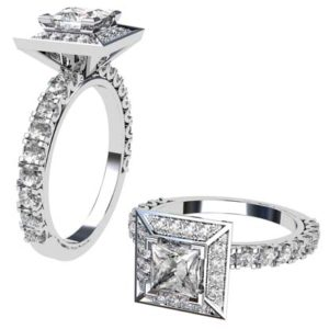 Princess Cut Halo Engagement Ring with Diamond Band 1 2