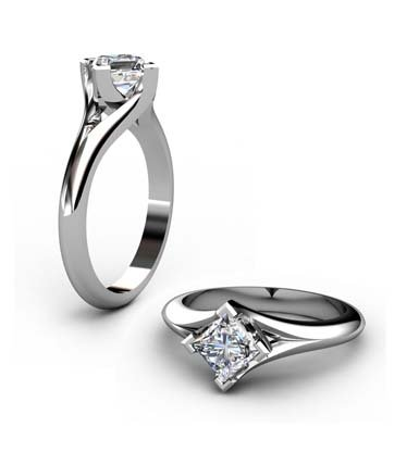 Princess Cut Solitaire Diamond Engagement Ring with Crossover Claws 1 2