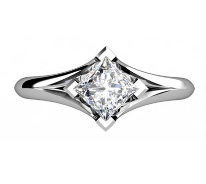 Princess Cut Solitaire Diamond Engagement Ring with Crossover Claws 2 2