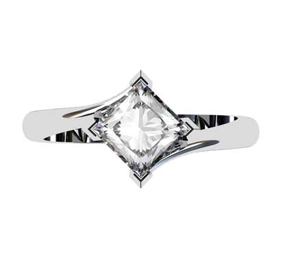 Princess Cut Solitaire Diamond Engagement Ring with Twisted Band 2