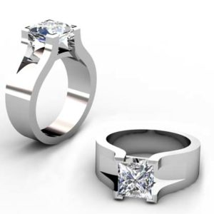 Princess Cut Solitaire Diamond Engagement Ring with Wide Band 1 1