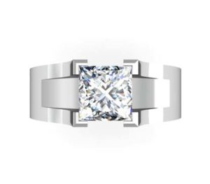 Princess Cut Solitaire Diamond Engagement Ring with Wide Band 2 1