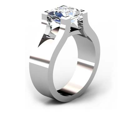 Princess Cut Solitaire Diamond Engagement Ring with Wide Band 4 1