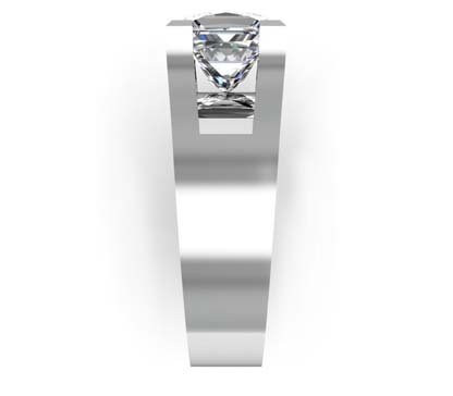 Princess Cut Solitaire Diamond Engagement Ring with Wide Band 5 1