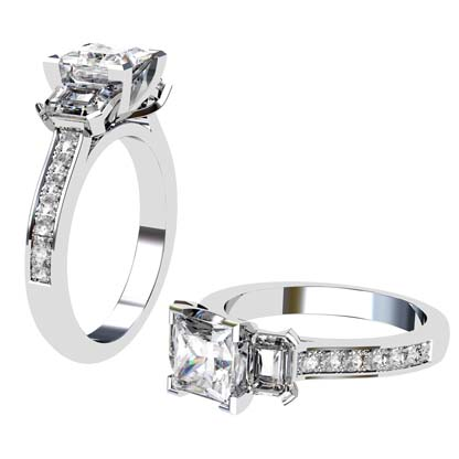Princess Cut Three Stone Engagement Ring with Diamond Band 1 2
