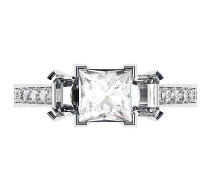 Princess Cut Three Stone Engagement Ring with Diamond Band 2 2