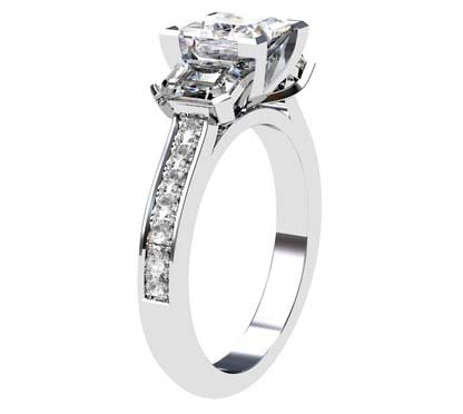 Princess Cut Three Stone Engagement Ring with Diamond Band 4 2