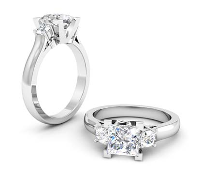 Princess Cut Three Stone Engagement Ring with V Form Basket 1 2