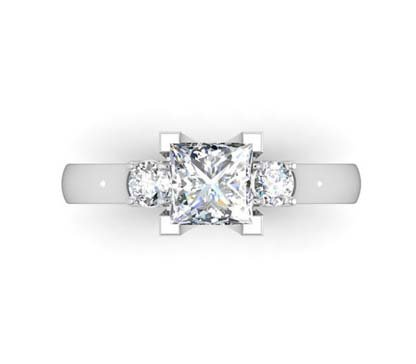 Princess Cut Three Stone Engagement Ring with V Form Basket 2 2