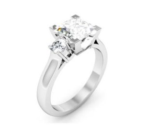 Princess Cut Three Stone Engagement Ring with V Form Basket 4 2