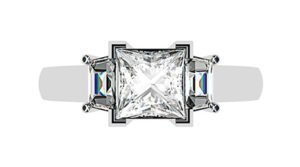 Princess Cut and Trapezoid Diamond Ring 1 2