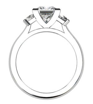 Princess Cut and Trapezoid Diamond Ring 2 2
