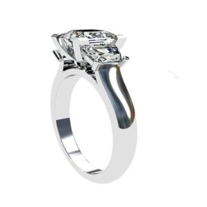 Princess Cut and Trapezoid Diamond Ring 3 3