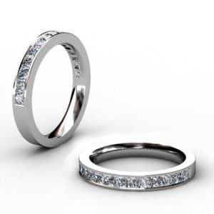 Princess cut Channel set Half eternity band 1