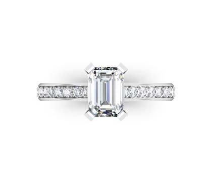 Radiant Cut Diamond Engagement Ring with Flat Prongs 2 2