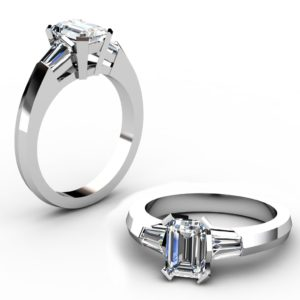 Radiant Cut Diamond Three Stone Engagement Ring with Kinfe Edge Band 1 2