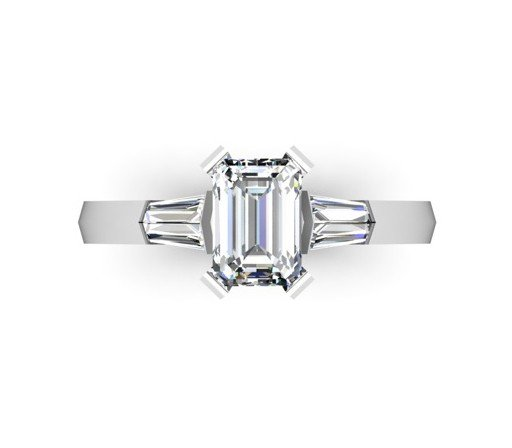 Radiant Cut Diamond Three Stone Engagement Ring with Kinfe Edge Band 2 2