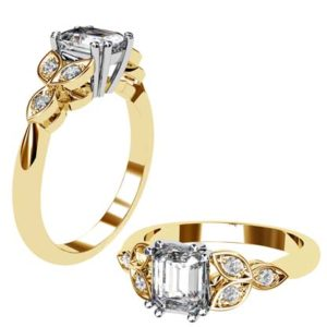 Radiant Cut Yellow Gold Petal Engagement Ring 1 2