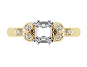 Radiant Cut Yellow Gold Petal Engagement Ring 2 2