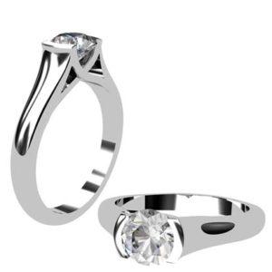 Round Brilliant Cut Bezel Set Solitaire Engagement Ring with X Form Basket 1 2