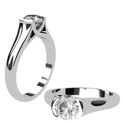 Round Brilliant Cut Bezel Set Solitaire Engagement Ring with X Form Basket 1 2