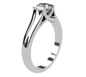 Round Brilliant Cut Bezel Set Solitaire Engagement Ring with X Form Basket 4 2